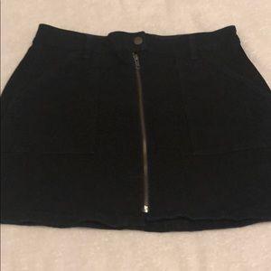 Madewell Zip-up Black Jean Skirt